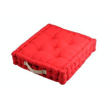 Coussin de sol rouge poignée couleur lin 45x45x10cm 100% coton DUO