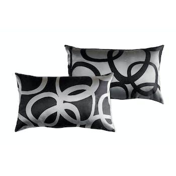 Coussin noir et gris décor ronds entrelacés recto argenté verso noir 30x50cm REFLEXION
