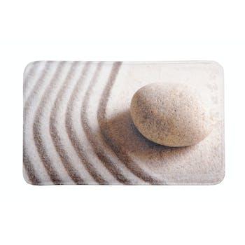 Tapis de sol touché doux décor galet sur le sable 45x75cm SHAOLIN CALLY