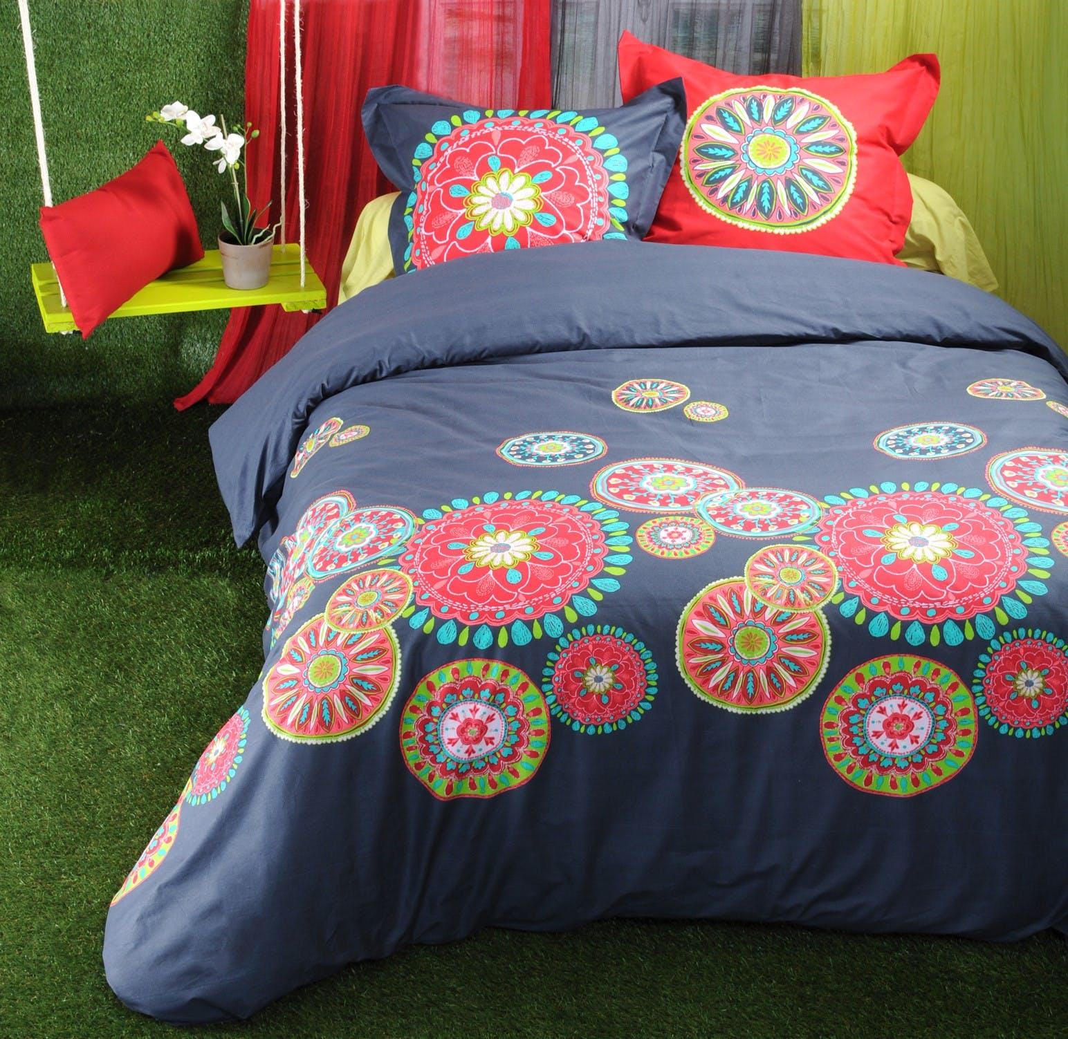 Parure de lit Qualité Supérieure décor floral mandalas multicolors 260x240 housse de couette + 2 taies 65x65 100% coton SONORA