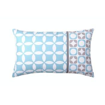 Coussin esprit nordique bleu et gris motif cercles géométriques 30x50cm SUOMI