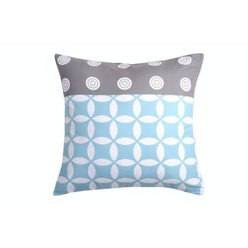Coussin esprit nordique bleu et gris motif cercles géométriques 40x40cm SUOMI