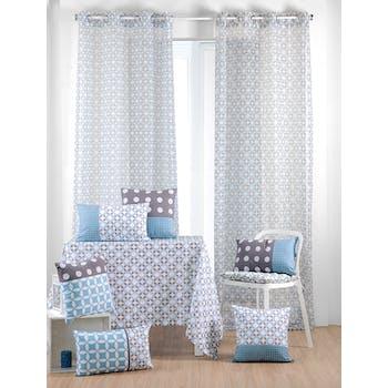 Rideau voilage bleu gris motifs géométriques 135x260cm à oeillets SUOMI