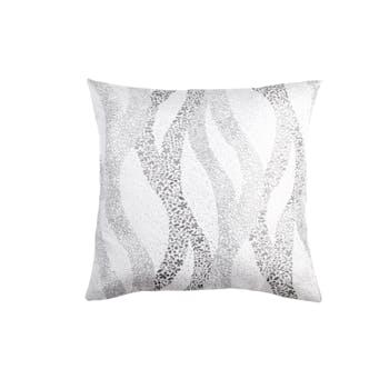 Coussin gris jacquard décor arabesques florales en relief avec strasses 40x40cm WAVE