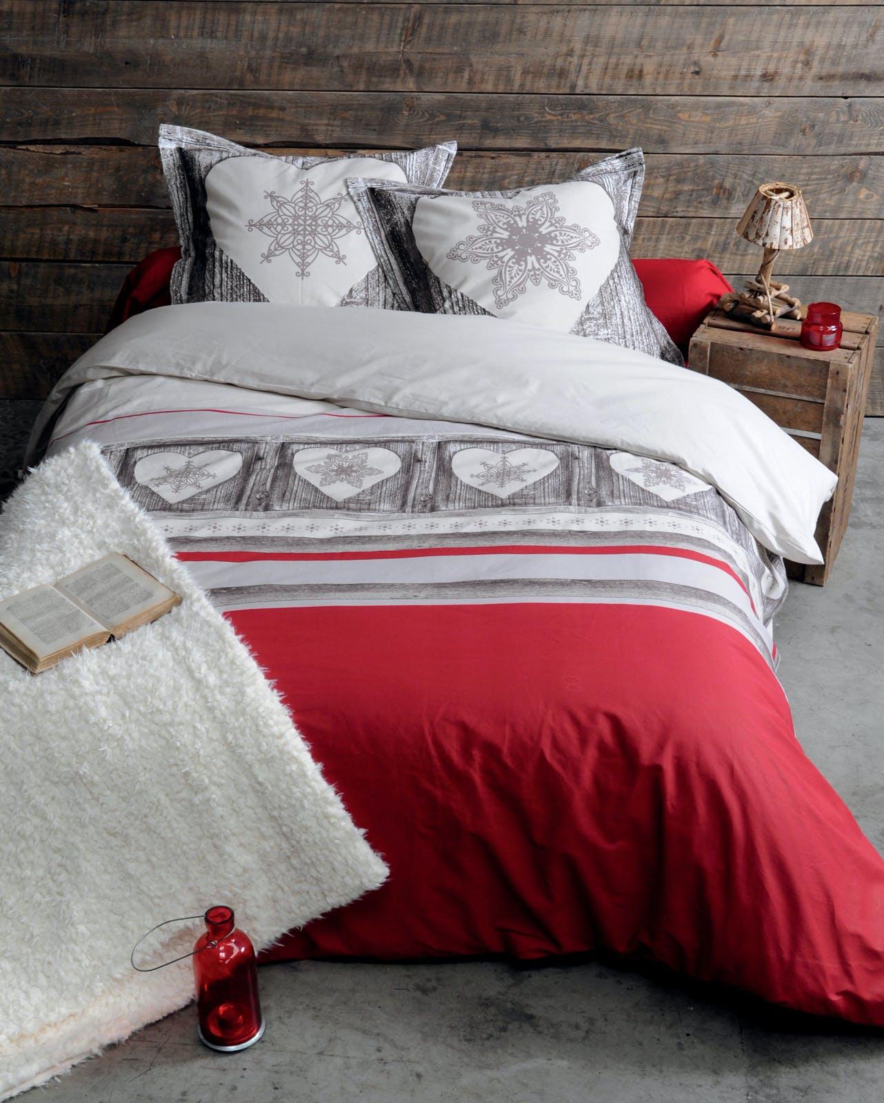 Parure de lit Qualité Supérieure esprit chalet romantique rouge 260x240 housse de couette + 2 taies 65x65 100% coton HELSINKI