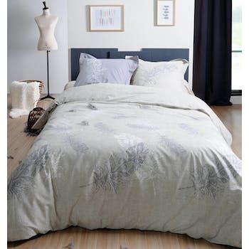 Parure de lit Qualité Supérieure décor plumes couleur lin 220x240 housse de couette + 2 taies 65x65 100% coton FAUCON
