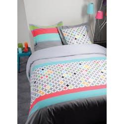 Parure de lit Qualité Supérieure décor esprit nordique coloré 220x240 housse de couette + 2 taies 65x65 100% coton POLYGONE