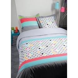 Parure de lit Qualité Supérieure décor esprit nordique coloré 260x240 housse de couette + 2 taies 65x65 100% coton POLYGONE