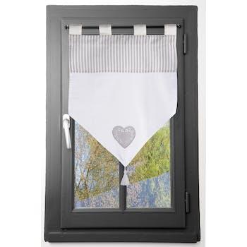 Brise bise romantique en pointe rayé écru et gris décor coeur brodé avec pompon 45x60cm 100% coton CHINON