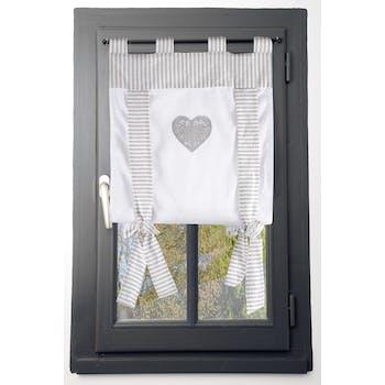 Rideau vitrage romantique rayé écru et gris décor coeur brodé ruban à nouer 80x160cm 100% coton CHINON