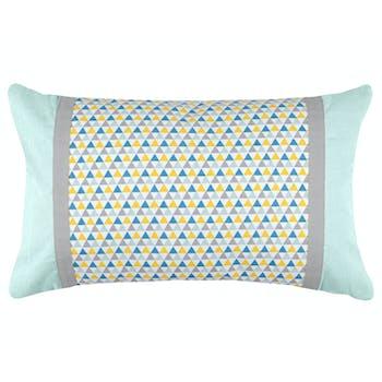 Coussin motifs géométriques bleu jaune gris et bandes extérieures grises et celadon 30x50cm 100% coton ISOCELE CELADON