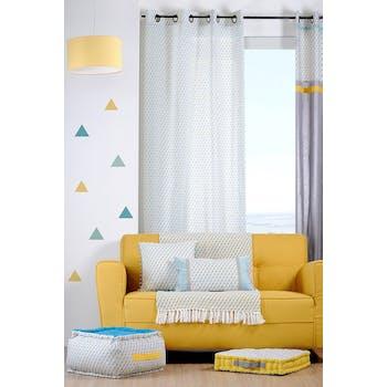 Rideau voilage motifs géométriques bleu jaune gris 135x260cm à oeillets 100% coton ISOCELE CELADON