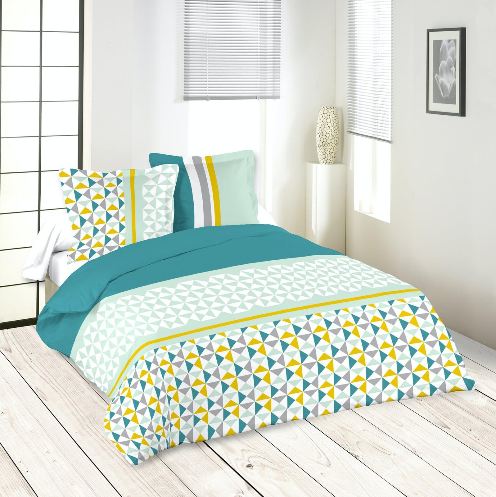 Parure de lit motifs g om triques bleu jaune gris 260x240 - Housse de couette gris clair ...