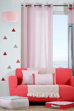 Rideau voilage motifs géométriques bleu rouge corail 135x260cm à oeillets 100% coton ISOCELE ROUGE