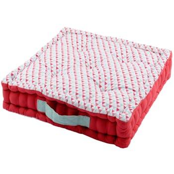 Coussin de sol motifs géométriques bleu rouge corail contour rouge et poignée celadon 45x45x10cm 100% coton ISOCELE ROUGE