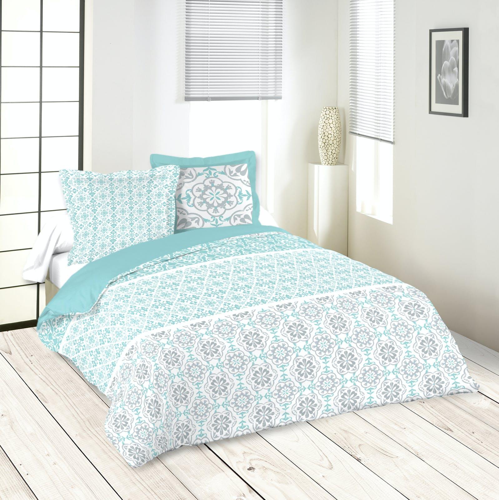 Parure de lit motifs arabesques bleu blanc gris 260x240 housse de couette + 2 taies 63x63 100% coton LISBOA