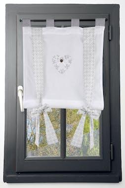 Rideau vitrage 45x100cm écru et gris coeur brodé avec bouton et ruban à nouer décor arabesque floral 100% coton MANOIR