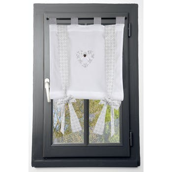 Rideau vitrage 60x140cm écru et gris coeur brodé avec bouton et ruban à nouer décor arabesque floral 100% coton MANOIR