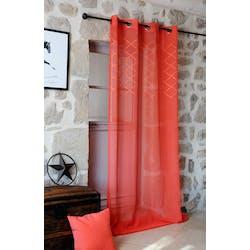 Rideau voilage couleur coquelicot avec losanges brodés 135x260cm à oeillets KARI
