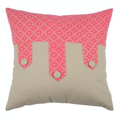 Coussin couleur lin et décor floral fuschia avec boutons 40x40cm 100% coton LOLITA FUSCHIA