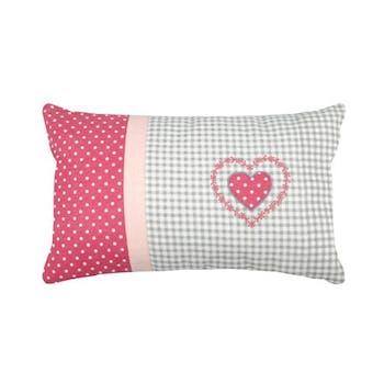 Coussin Charme écru et fuschia à pois décor coeur et bande rose 30x50cm 100% coton BAILEY