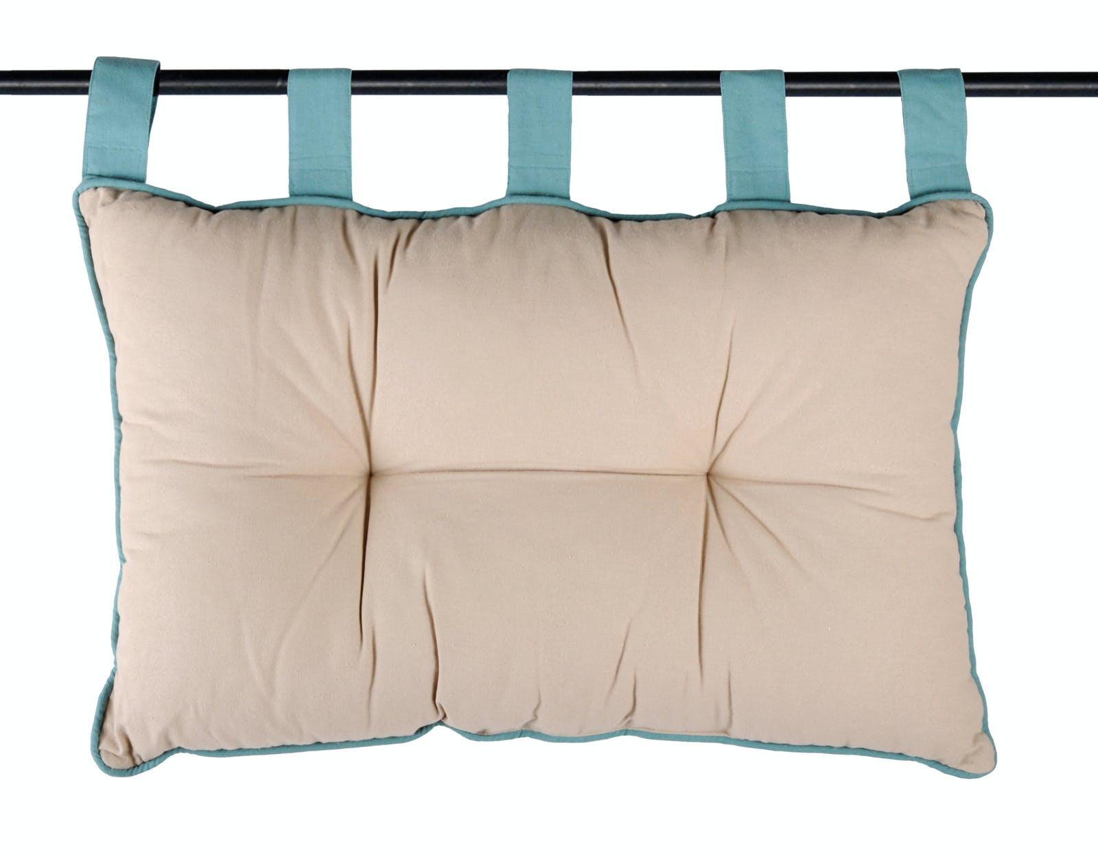 Tête de lit couleur lin et passepoil bleu 45x70cm 100% coton DUO