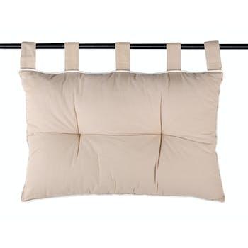 Tête de lit couleur lin et passepoil écru 45x70cm 100% coton DUO