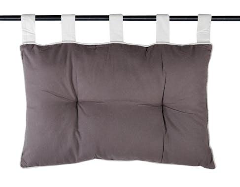 Tête de lit gris anthracite et passepoil gris perle 45x70cm 100% coton DUO
