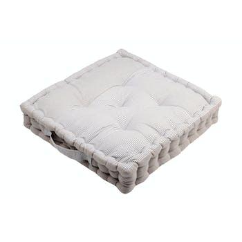 Coussin de sol charme couleur lin rayé et blanc 45x45x10cm 100% coton ANGELE LIN