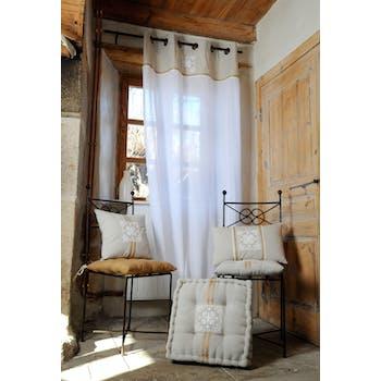 Rideau Voilage motif baroque couleur lin avec broderie et liseré jute 135x260cm à oeillets 100% coton CHAMBORD