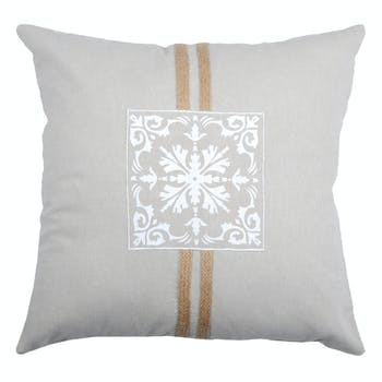 Coussin carré motif baroque couleur lin avec liseré jute 40x40cm 100% coton CHAMBORD