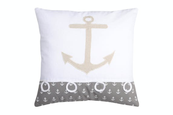 Coussin carré motifs ancre de bateau blanc gris beige avec broderie et 4 noeuds 40x40cm 100% coton EMBRUN