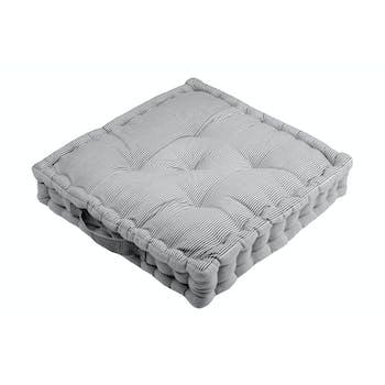 Coussin de sol charme couleur gris rayé et blanc 45x45x10cm 100% coton ANGELE GRIS