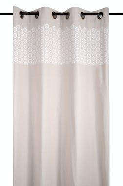 Rideau charme motif fleurs géométriques couleur lin et blanc 135x260cm à oeillets 100% coton JANE LIN