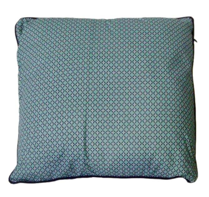 Coussin déco motifs Losanges enchevêtrés et Fleurs tons bleus avec passepoil kaki 40x40cm CUBIST EMERALD