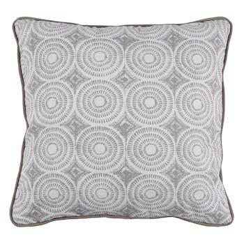 Coussin déco motif Cercles Rayés blanc, gris et couleur ficelle avec passepoil 40x40cm BOLT RAMIE