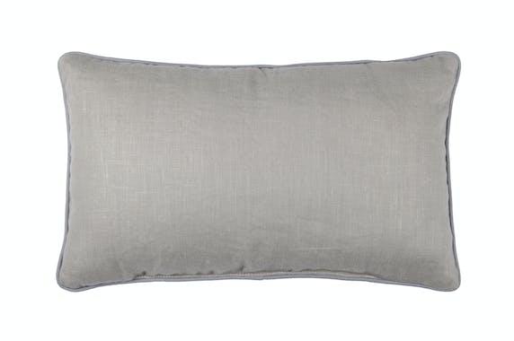 Coussin déco couleur taupe motif Mouvement de Feuilles bleu et blanc avec passepoil 30x50cm LEAF