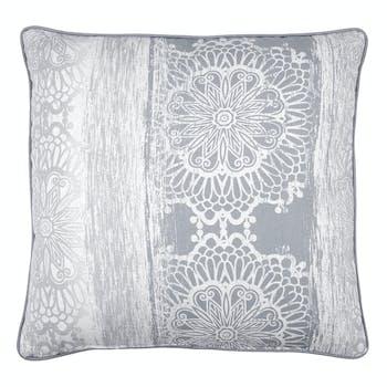 """Coussin déco """"Fleur de Vie"""" gris et blanc avec passepoil 50x50cm SAADI SAVOIE"""