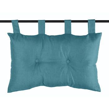 Tête de lit unie capitonnée bleu turquoise 45x70cm BEA