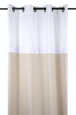 Rideau couleur lin et blanc avec bande de broderie 140x260cm avec oeillets MUMMY