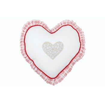 Coussin coeur romantique blanc brodé coeur beige et contour façon carreaux de ciment rouge 30cm DARLA ROUGE