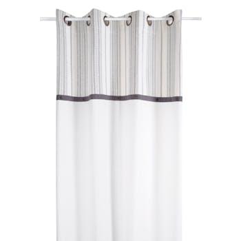 Rideau écru et rayures grises avec boutons sur bandeau anthracite 140x260cm à oeillets VALDAVIA