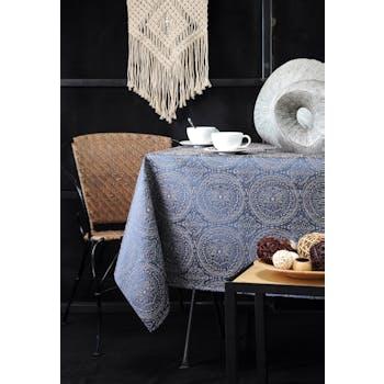 Nappe bleue inspiration Indienne motifs géométriques blancs 140x240cm KOLAM