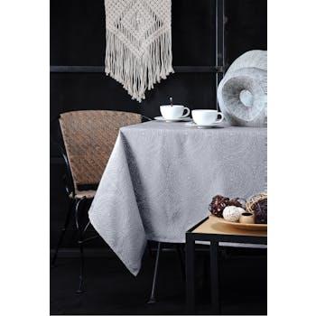 Nappe gris perle inspiration Indienne motifs géométriques blancs 140x240cm KOLAM