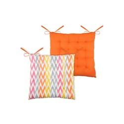 Galette de chaise 16 points imprimée orange en coton 40x40cm IKATI