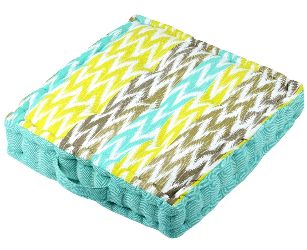 Coussin de sol bleu en coton 45x45x10cm IKATI