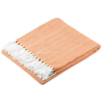 Plaid orange à chevron en coton 125x150cm IKATI