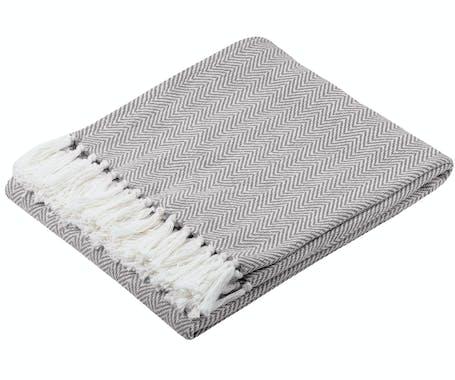 Plaid gris à chevron en coton 125x150cm IKATI