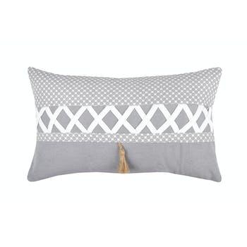 Coussin 30x50cm gris et blanc à motifs et bande croisillons blanc NELIA