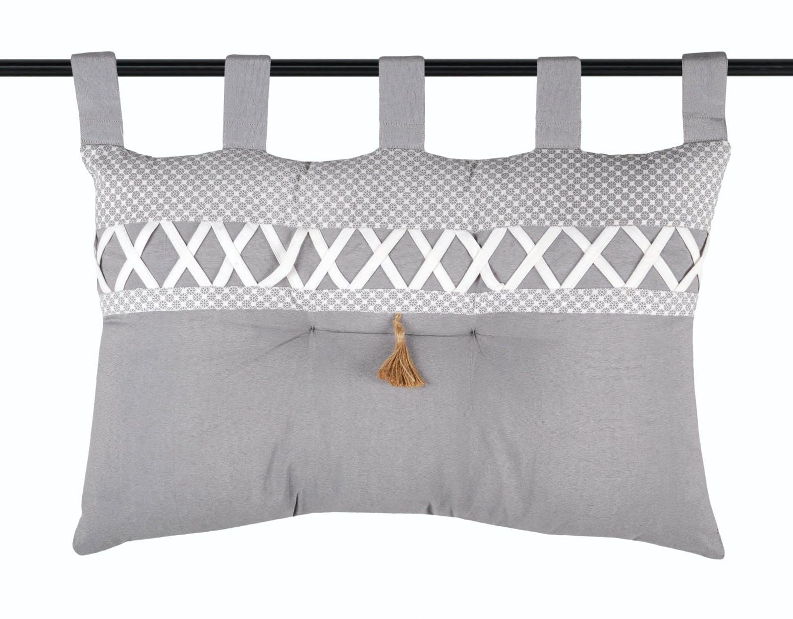 Tête de lit gris et blanc à motifs et bande croisillons blanc 45x70cm NELIA